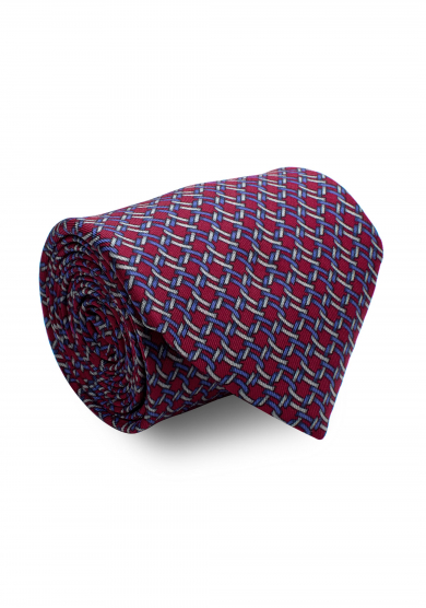 DARK RED PATTERN SILK TIE