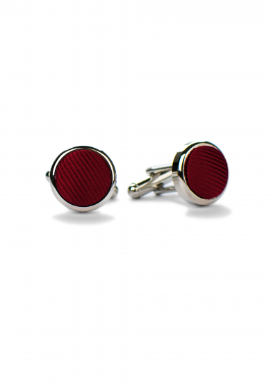 DARK RED SILK CUFF LINK