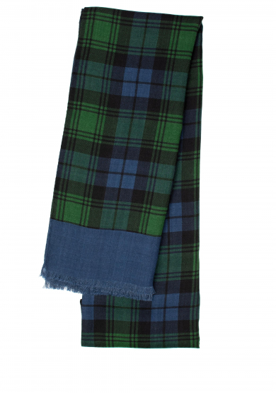 GREEN BLUE CHECK WOOL SCARF