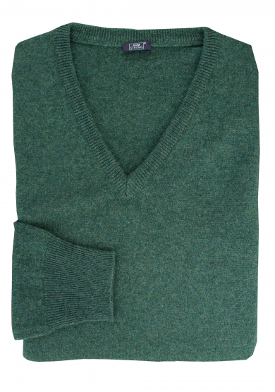 GREEN CASHMERE V-NECK SWEATER