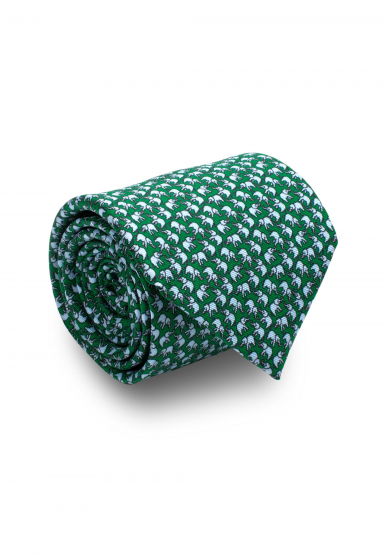 GREEN ELEPHANT SILK TIE