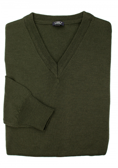 GREEN MERINO V-NECK SWEATER