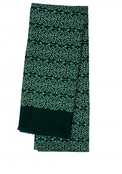 GREEN PATTERN WOOL SCARF