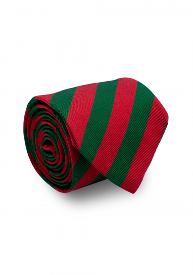 RED GREEN STRIPE SILK TIE