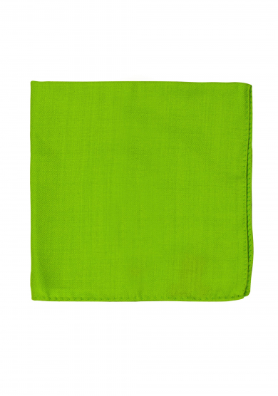 GREEN WOOL SILK POCKET SQUARE