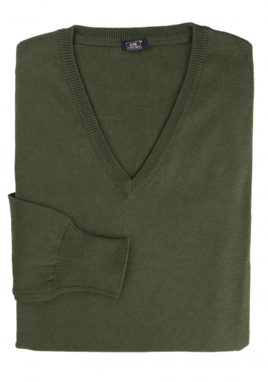 GREEN COTTON-CASHMERE V-NECK SWEATER