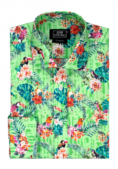 GREEN TOUCAN FLOWER POPLIN
