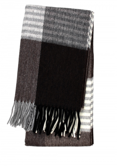 GREY BROWN WOOL CASHMERE SCARF