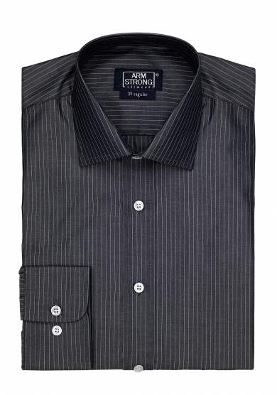 GREY STRIPE POPLIN