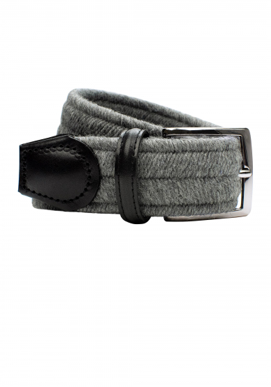 GREY WOOL STRETCH BELT