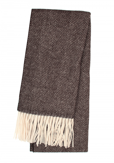 BROWN HERRINGBONE SCARF