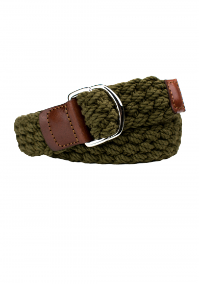 KHAKI COTTON BRAIDED BELT
