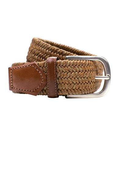 LIGHT BROWN BRAIDED STRETCH BELT
