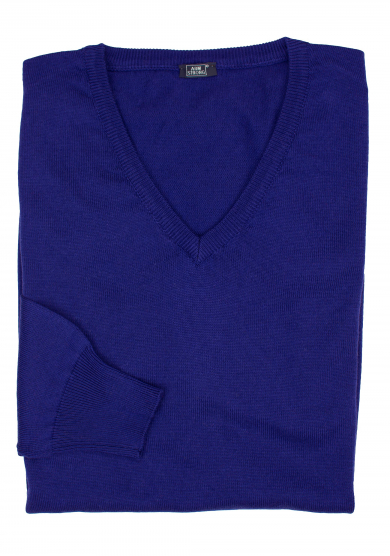 PURPLE COTTON-CASHMERE V-NECK SWEATER