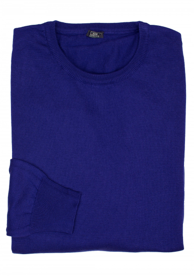 PURPLE COTTON-CASHMERE CREW-NECK SWEATER