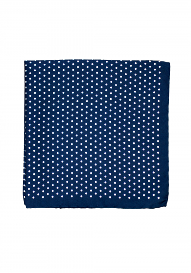 NAVY WHITE DOT POCKET SQUARE