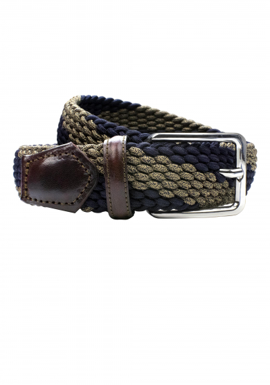 NAVY BEIGE STRETCH BELT