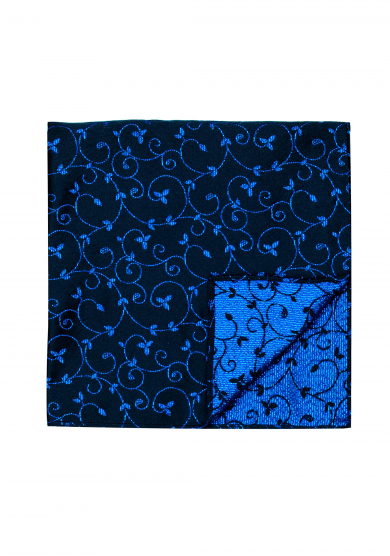 NAVY BLUE FLOWER PATTERN GLITTER POCKET SQUARE
