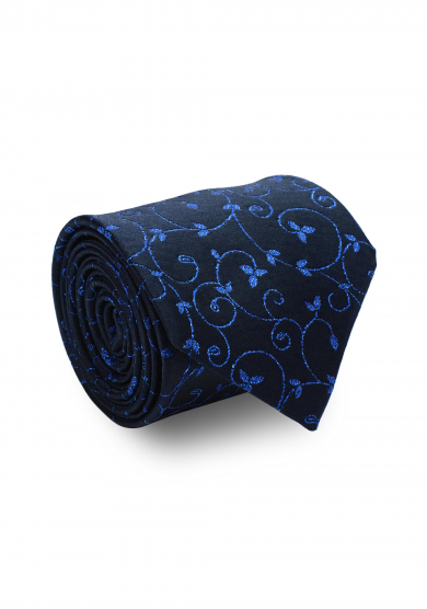 NAVY BLUE FLOWER PATTERN GLITTER SILK TIE