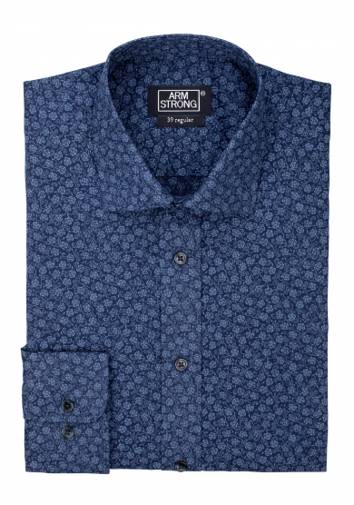 NAVY BLUE FLOWERS PRINTED POPLIN