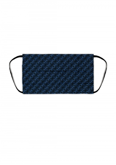 NAVY BLUE PATTERN PRINTED POPLIN FACE MASK