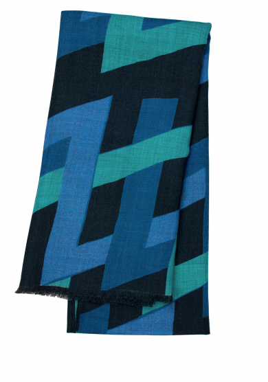 BLUE PATTERN WOOL CASHMERE SCARF