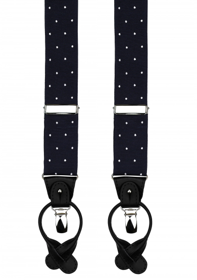 NAVY DOT RIBBED SUSPENDERS
