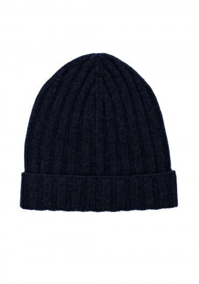 NAVY KNITTED LORO PIANA CASHMERE HAT