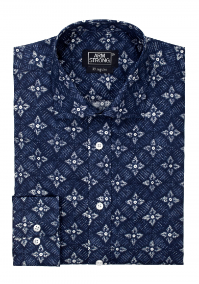 NAVY WHITE FLOWERS PRINTED POPLIN