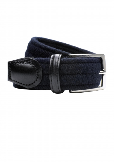 NAVY WOOL STRETCH BELT