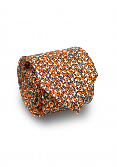 ORANGE ELEPHANT SILK TIE
