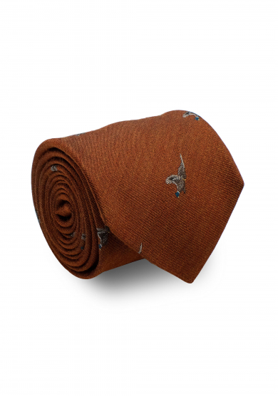 ORANGE PHEASANT SILK WOOL TIE