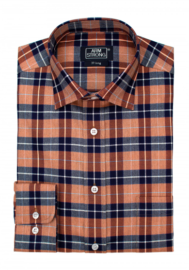 ORANGE NAVY CHECK TWILL