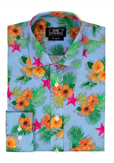 ORANGE PARADISE FLOWER POPLIN