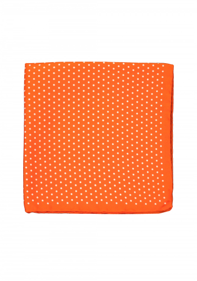 ORANGE WHITE DOT POCKET SQUARE