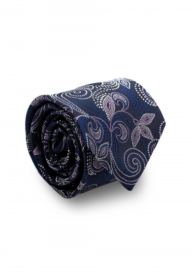 NAVY PINK FLOWER SILK TIE
