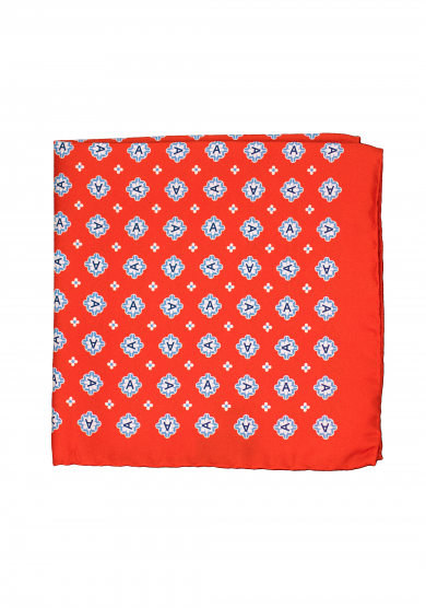 RED EMBLEM POCKET SQUARE