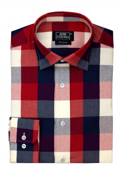 RED BLUE CHECK TWILL