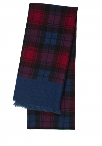 RED BLUE CHECK WOOL SCARF