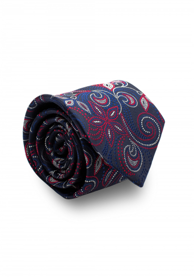 NAVY RED FLOWER SILK TIE