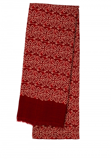 RED PATTERN WOOL SCARF