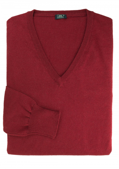 RED COTTON-CASHMERE V-NECK SWEATER