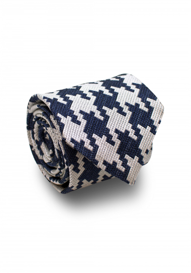 NAVY WHITE BIG DOGTOOTH SILK TIE