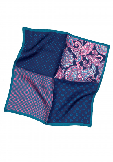TURQUOISE PATCHWORK POCKET SQUARE