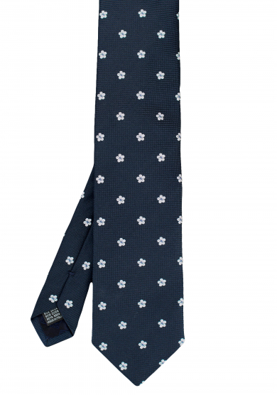 NAVY WHITE FLOWER SILK TIE