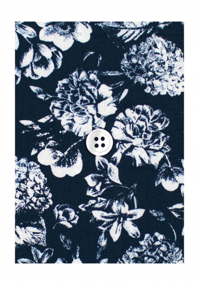 NAVY FLOWER PRINTED POPLIN