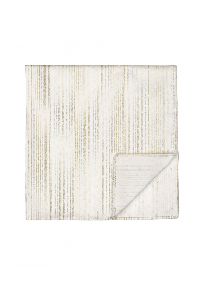 WHITE GLITTER STRIPE POCKET SQUARE