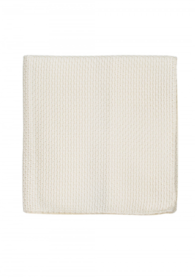 WHITE GRENADINE SILK POCKET SQUARE