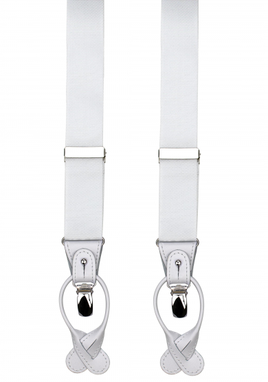 WHITE RIBBED SUSPENDERS
